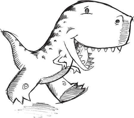trex: Doodle Dinosaur T-Rex Vector Illustration Art