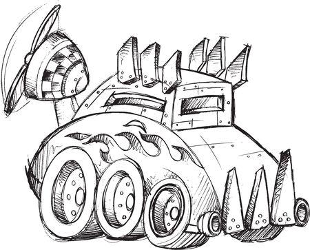 Armored Car Sketch Vector Illustration Art Archivio Fotografico - 32357495
