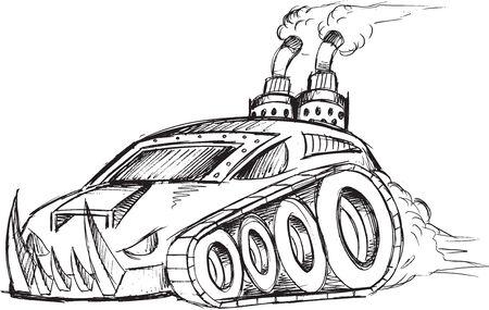 armored car: Armored Car Tank Vector Sketch Illustration Art