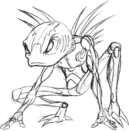 Alien Warrior Sketch Vector Illustration Art Ilustrace