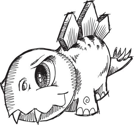 stegosaurus: Stegosaurus Dinosaur Sketch Vector Illustration Art Illustration