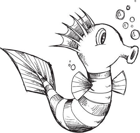 caballo de mar: Ilustraci�n linda del Sea Horse Sketch Vector Art