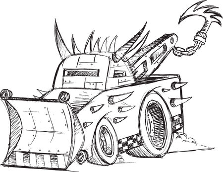 Armored Tow Truck Vehicle Sketch Vector Illustration Art Ilustrace