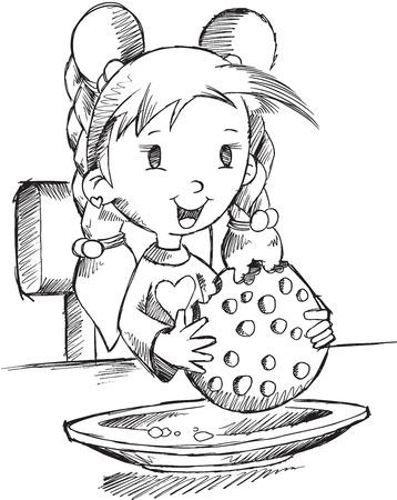 Ilustración de la muchacha que come la galleta Sketch Vector Art Foto de archivo - 32357509