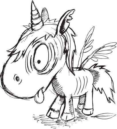 Zombie Unicorn Sketch Vector Illustration Art