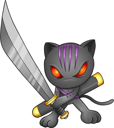 warriors: Ninja Cat Vector Illustration Art Illustration