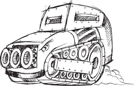 Armored Car Vehicle Sketch Vector Illustration Art