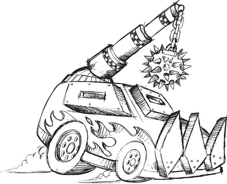 armored car: Armored Car Vehicle Sketch Vector Illustration Art