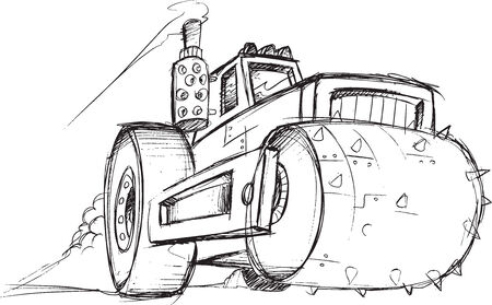 Armored Roller Vehicle Sketch Vector Illustration Art