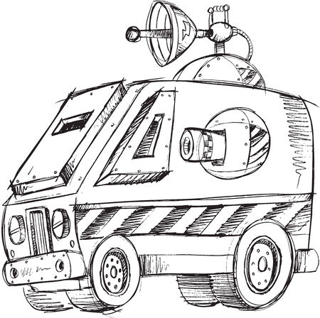Armored Van Vehicle Sketch Vector Illustration Art
