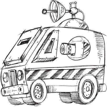Armored Van Vehicle Sketch Vector Illustration Art