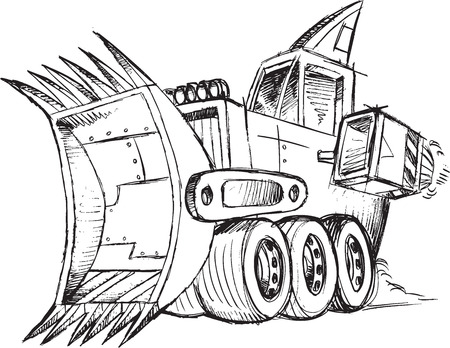 Armored Bulldozer Vehicle Sketch Vector Illustration Art