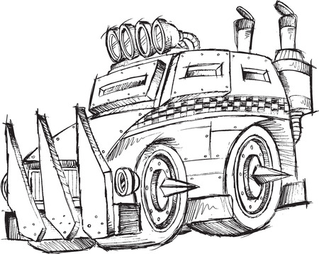 armored: Armored Car Vehicle Sketch Vector Illustration Art