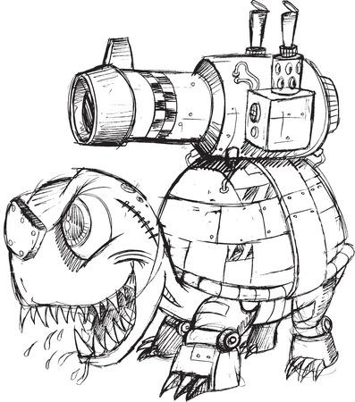 artillery shell: Ilustraci�n Tank War Tortuga Sketch Vector Art Vectores