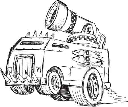 armored truck: Armored Truck Vehicle Sketch Vector Illustration Art