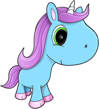 Cute Unicorn Vector Illustration Art