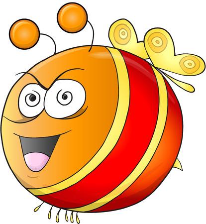 Crazy Insane Bee Vector Illustration Art