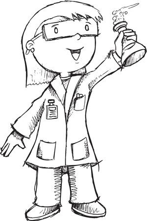bata de laboratorio: Ilustración Profesor del científico vectoriales