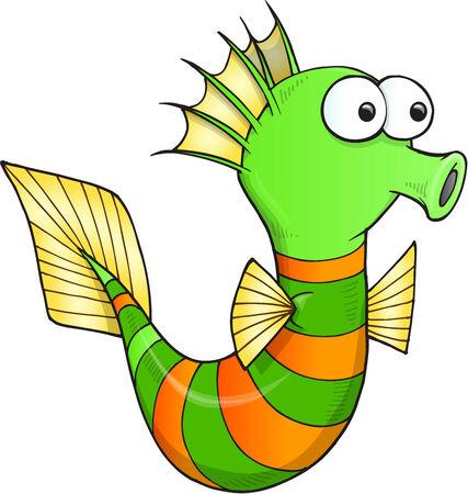 silly: Silly Sea Horse Vector Illustration Art