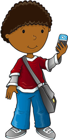 smart boy: Boy smart phone vector illustration art