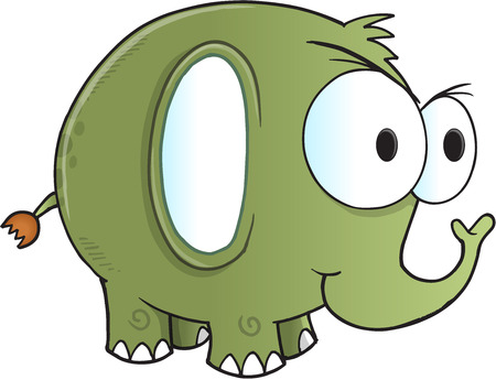 tough: Tough Green Elephant Vector Illustration Art
