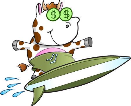 cash cow: Surfing Cash Cow Vector Illustration Art