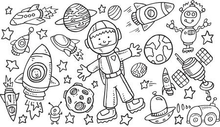 outer space: Outer Space Doodle Vector Illustration Art Set Illustration