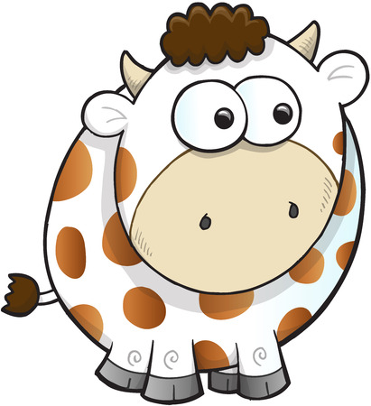 goofy: Silly Farm Cow Vector Illustration Art