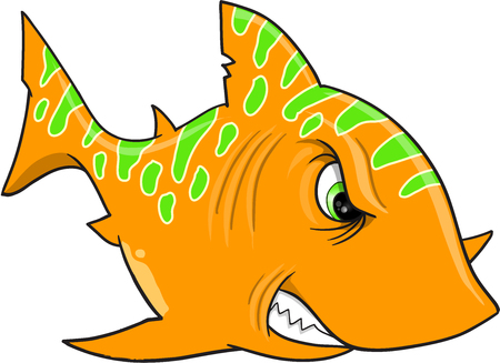 Angry Orange Shark Vector Illustration Art 向量圖像