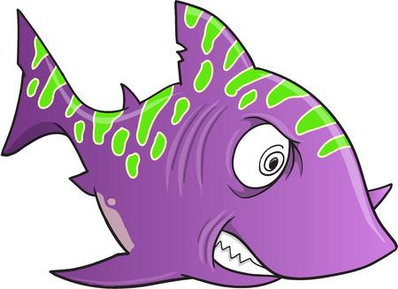 frenzy: Purple Crazy Shark Vector Illustration Art