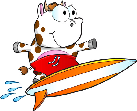 tough: Tough Surfing Cow Vector Illustration Art