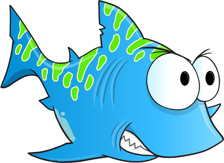 tough: Blue Tough Shark Vector Illustration Art