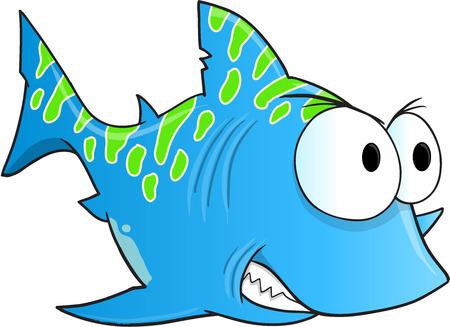 tough: Blue Tough Shark Vector Illustration Art