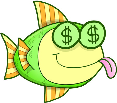 Money Hungry Fish Vector Illustration Art