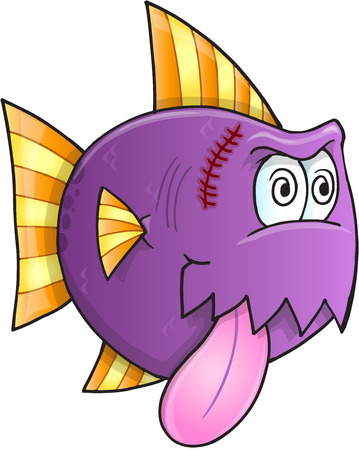 Purple Crazy Fish Vector Illustration Art