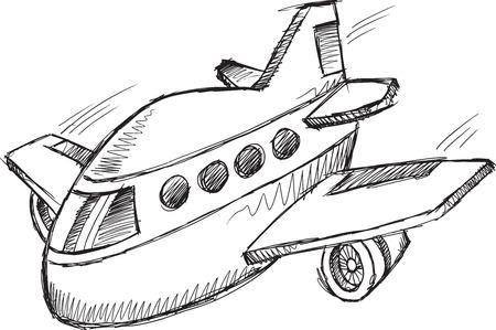ジャンボ ジェット機落書きスケッチ ベクトル イラスト アート  イラスト・ベクター素材