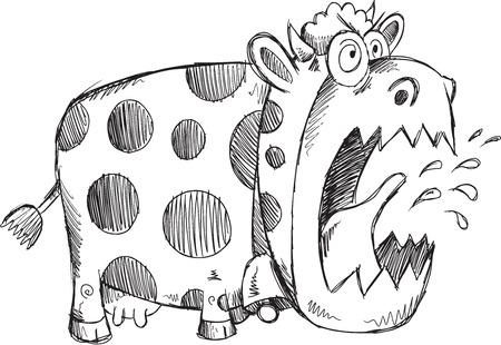 狂牛病クレイジーカウ スケッチ ベクトル イラスト アート  イラスト・ベクター素材
