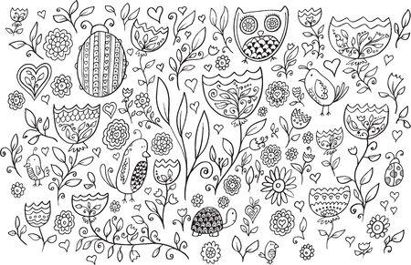 turtles love: Flower Bird Doodle Vector Illustration Set Illustration