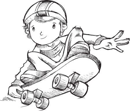 skateboard boy: Skateboarder Vector Illustration Art Illustration