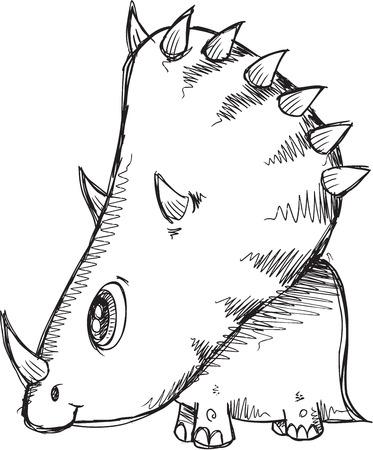 triceratops: Doodle Sketch Triceratops  Dinosaur  Illustration