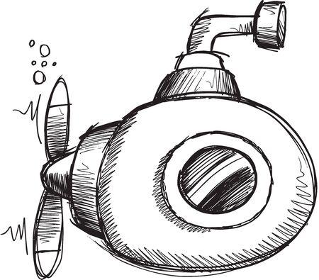 Doodle Sketch Submarine Illustratie Art