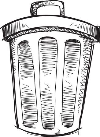Doodle Sketch Trash Can Vector Illustration Art