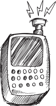 phone vector: Doodle Sketch Cell Phone Vector Illustration Art