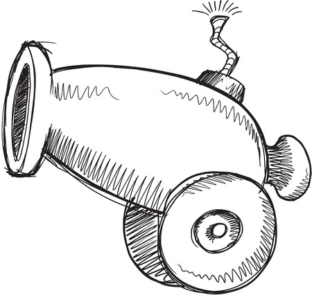 a cannon: Doodle Sketch Cannon Vector Illustration Art Illustration
