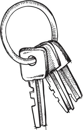 Doodle Sketch Keys Vector Illustration Art