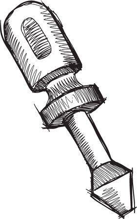 screwdriver: Doodle Sketch Screwdriver  Vector Illustration Art