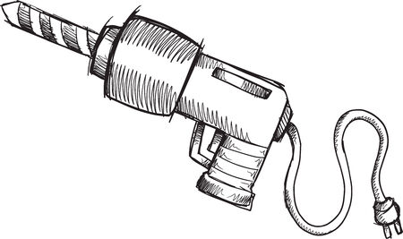 Doodle Sketch Power Drill Vector Illustration Art Ilustração