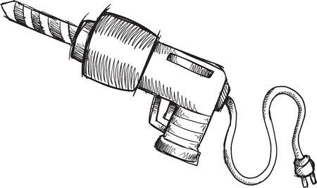 power drill: Doodle Sketch Power Drill Vector Illustration Art Illustration