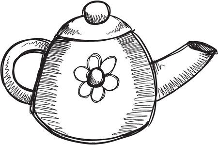 Doodle Sketch Tea Pot Vector Illustration Art