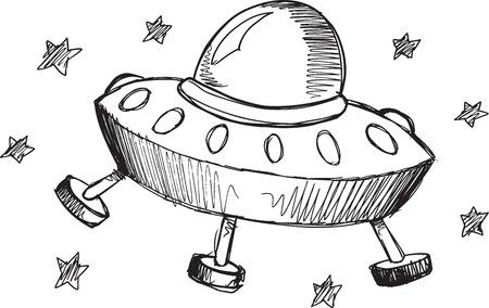 ufo: Doodle Sketch UFO Vector Illustration Art